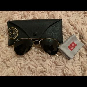 Junior sized black and gold aviator ray bans
